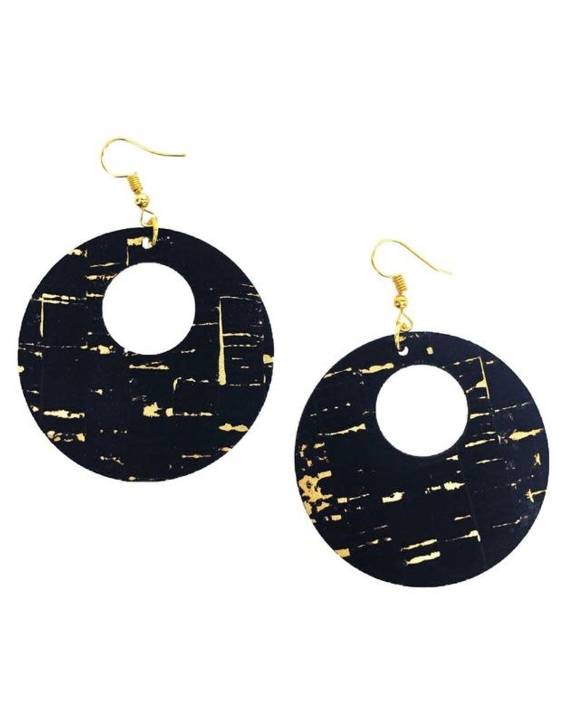 Queork Black and Gold Cork Double Circle Earrings