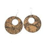 Queork Chunk Cork Double Circle Earrings
