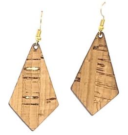 Queork Bamboo and Gold Cork Geometric Earrings