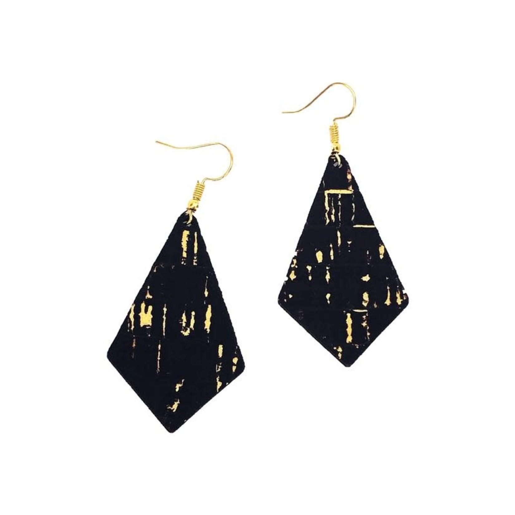 Queork Black and Gold Cork Geometric Earrings