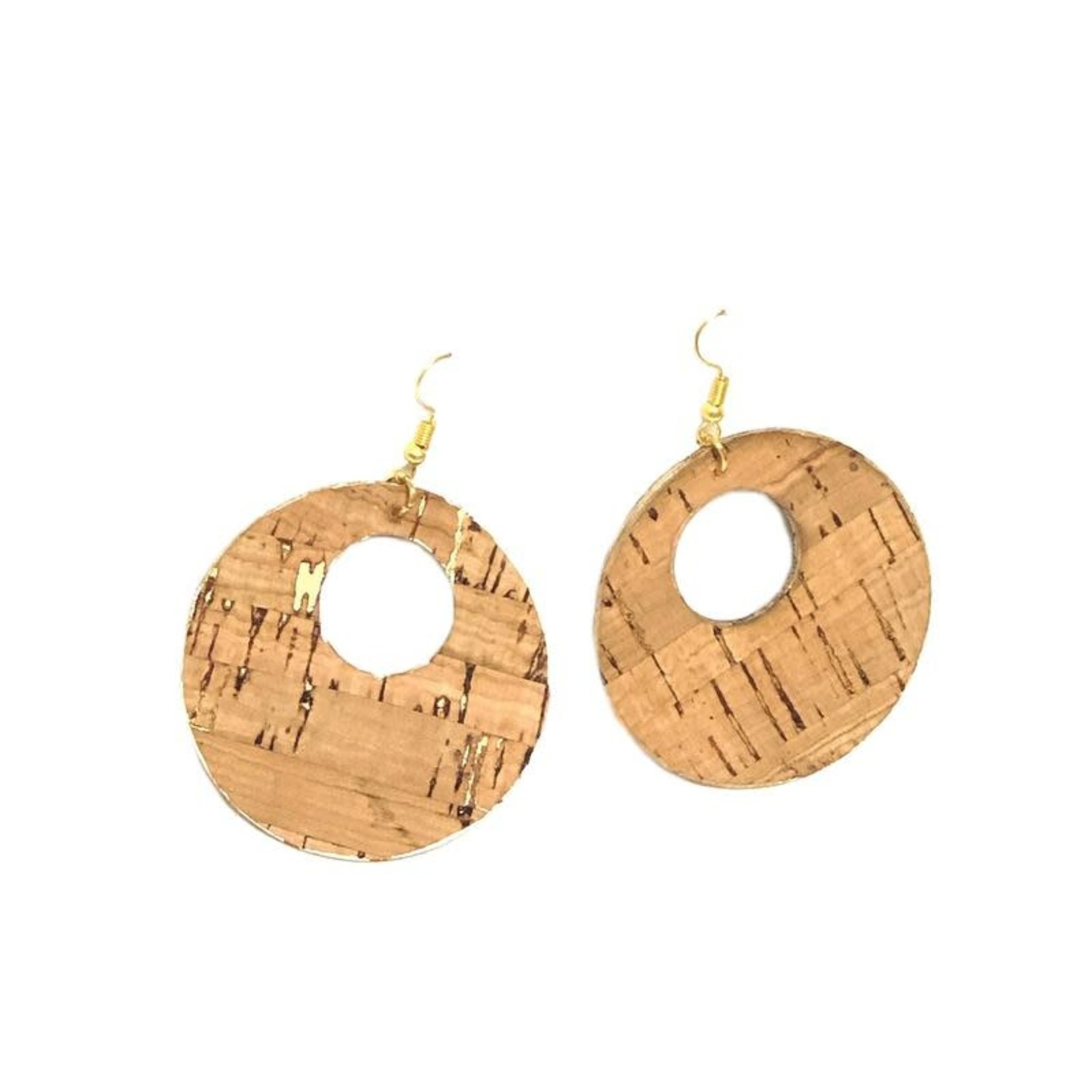 Queork Bamboo and Gold Cork Double Circle Earrings