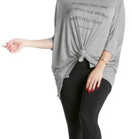 """Los Angeles Trading Co """"Be Who You Are"""" One Size Tee in Grey"""