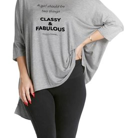 """Los Angeles Trading Co """"Classy & Fabulous"""" One-Size Tee Grey"""