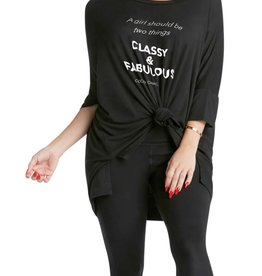 """Los Angeles Trading Co """"Classy & Fabulous"""" One-Size Black Tee"""