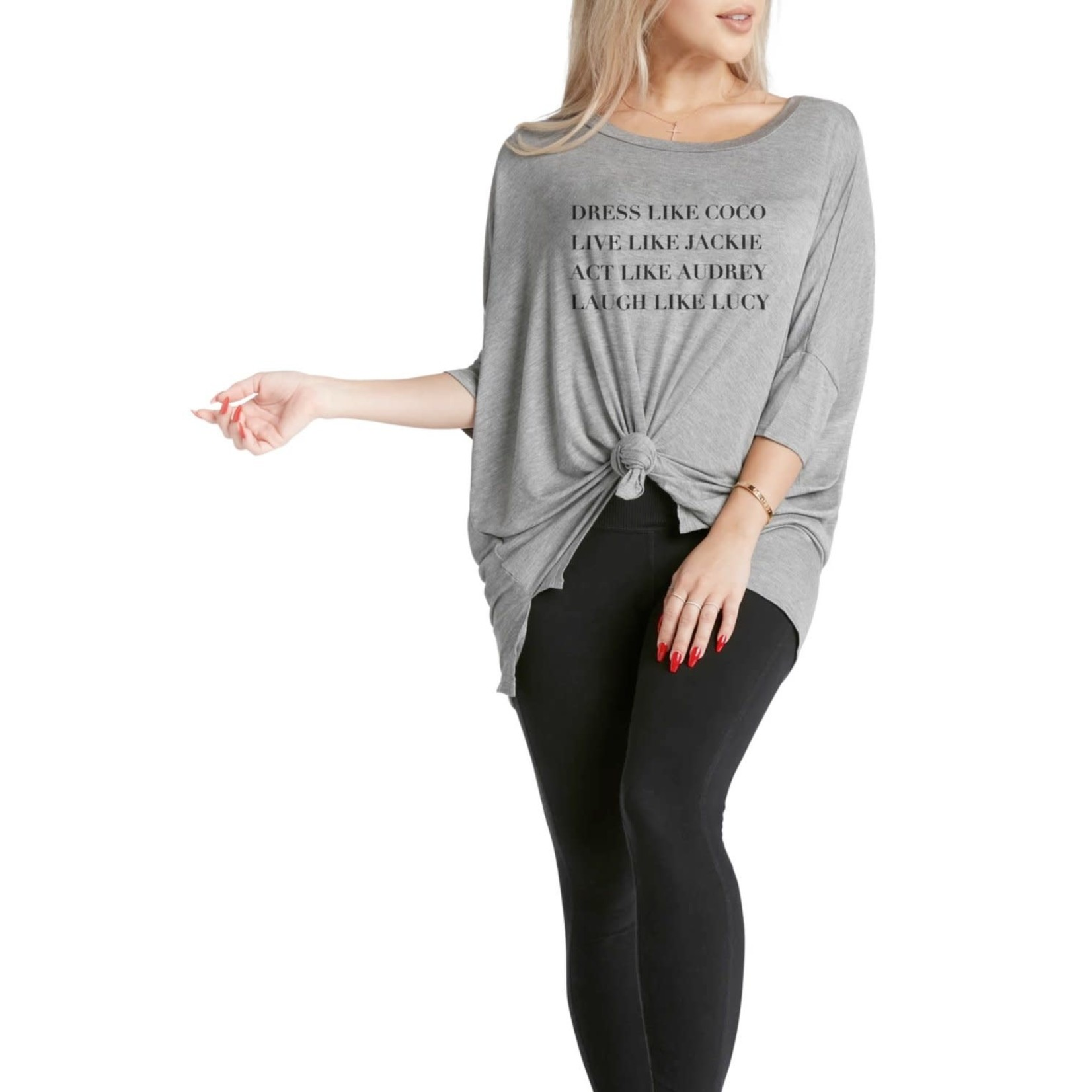 Los Angeles Trading Co Dress Like Coco One-Size Tee in Grey