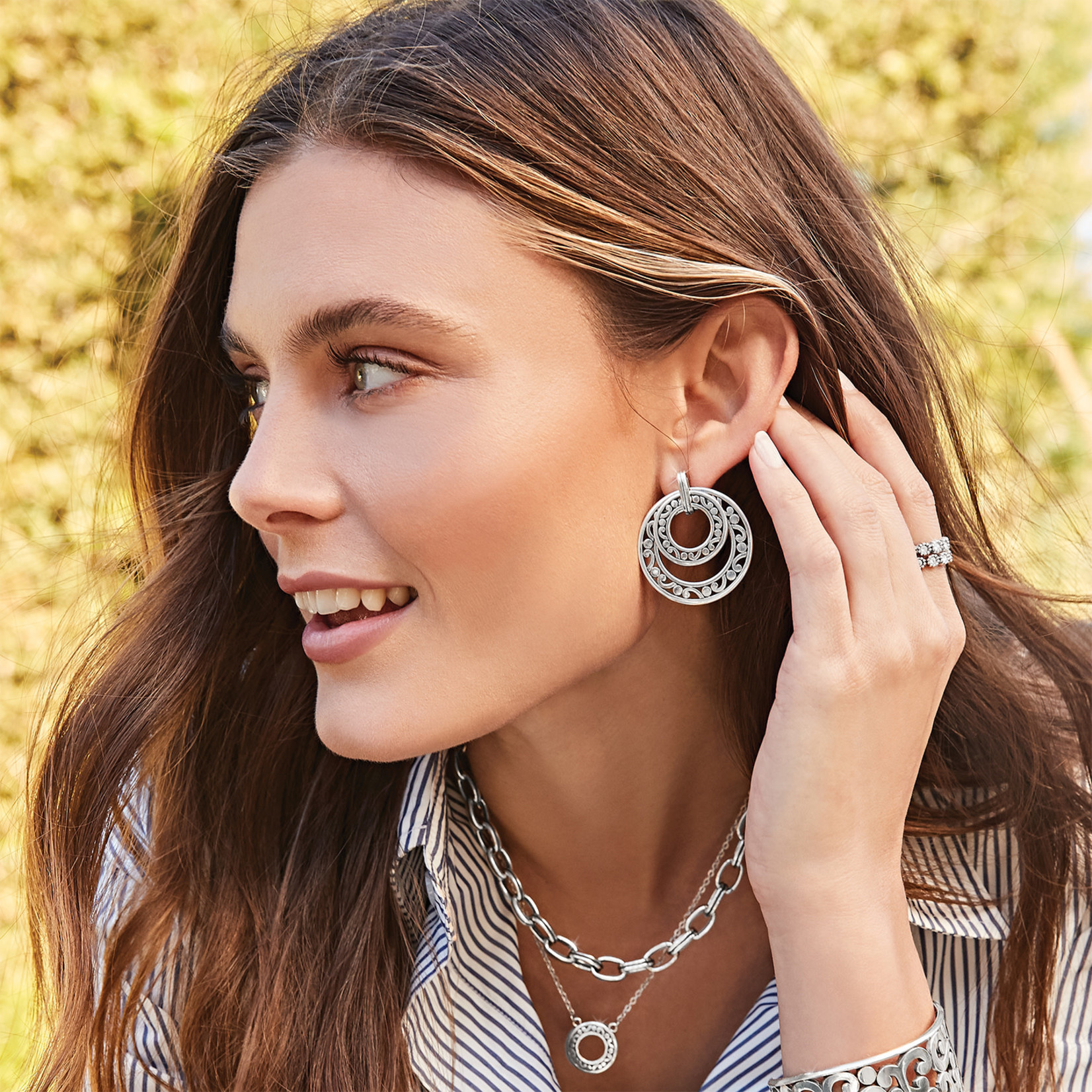 Brighton Contempo Open Ring Duo Post Drop Earrings