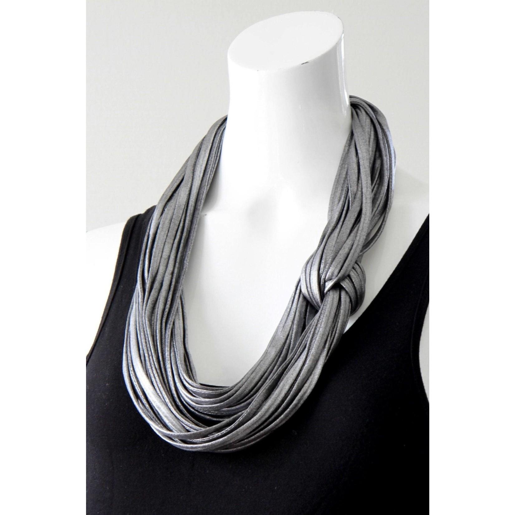Necknots Rhodium Silver Infinity Scarf Necklace