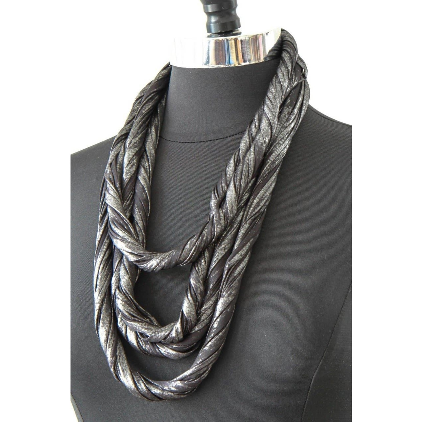 Necknots Oxi Metallic Black and Silver Infinity Scarf Necklace