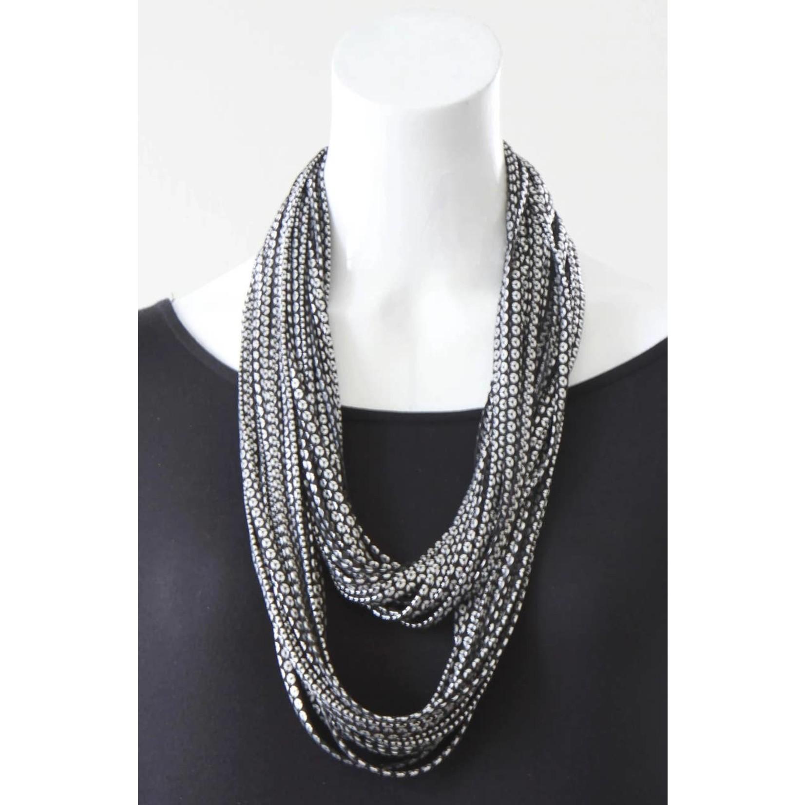 Necknots Medallion Metallic Black and Silver Scarf Necklace