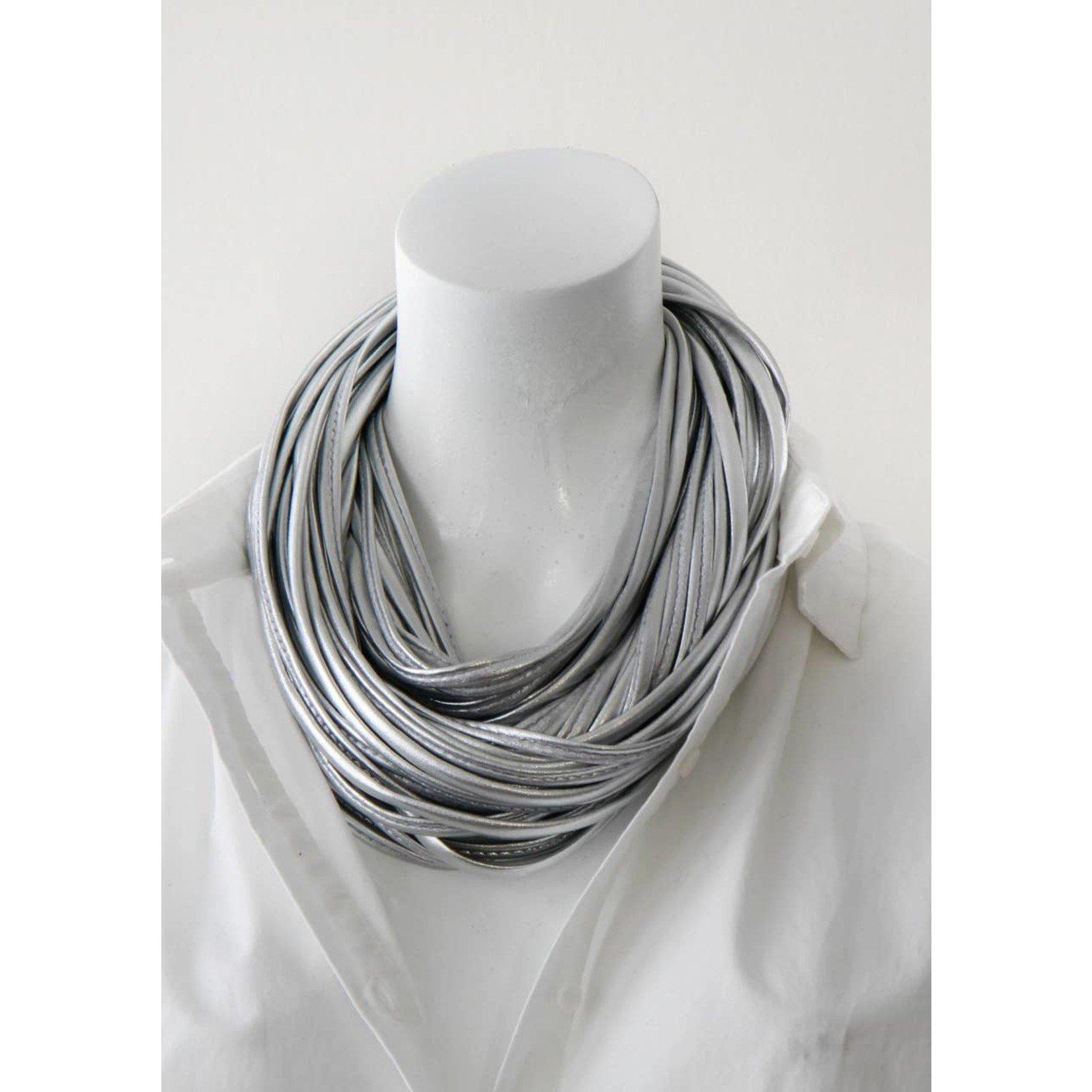 Necknots Chrome Metallic Silver Infinity Scarf Necklace