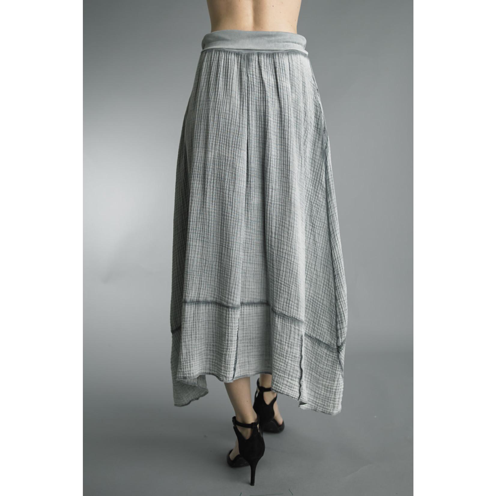 Tempo Paris Grey Long Skirt w/ Wide Elastic Waistband