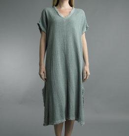 Tempo Paris Sage V-neck Short-Sleeve Dress w/ Frayed Edges