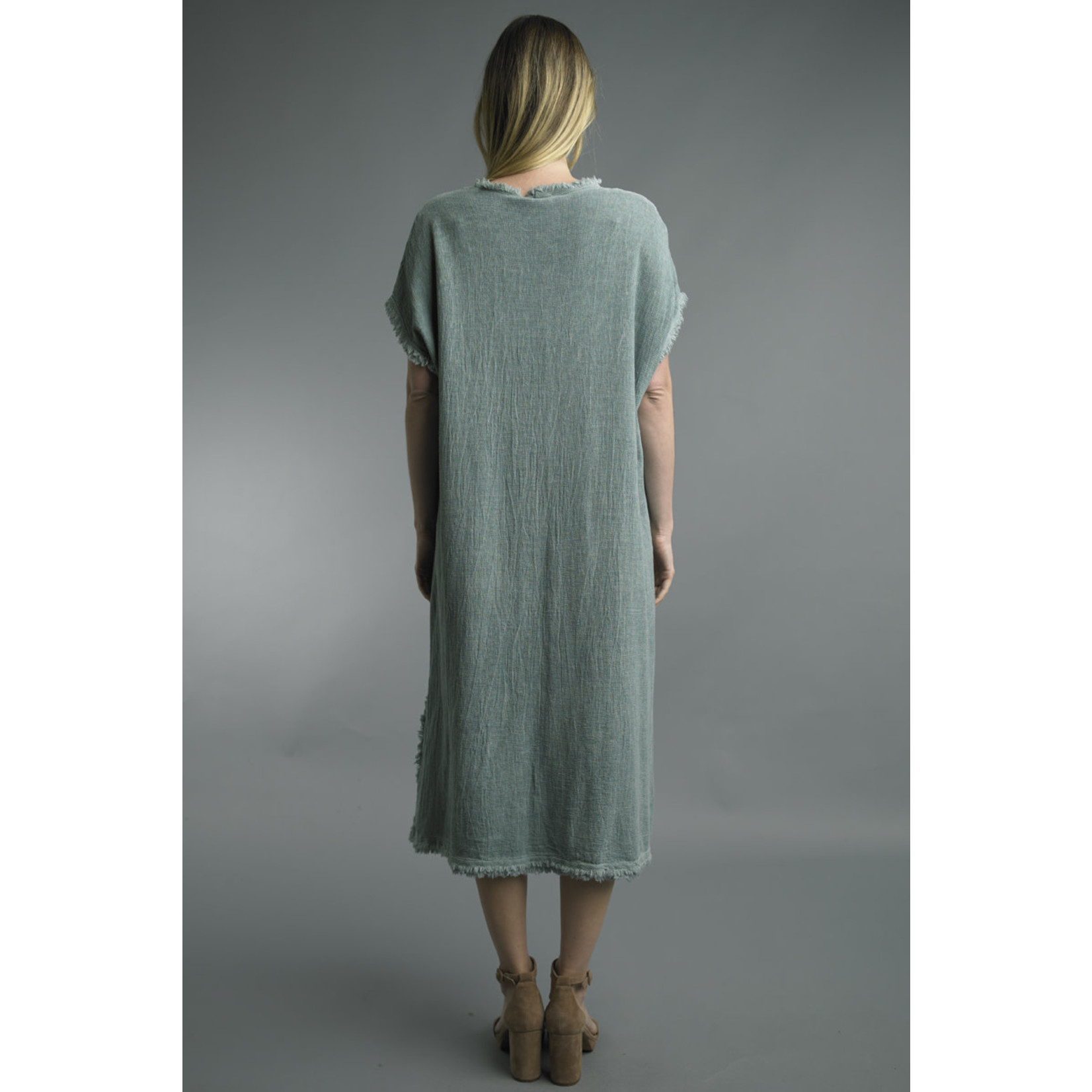 Tempo Paris Sage V-neck Short-Sleeve Dress w/ Frayed Edges