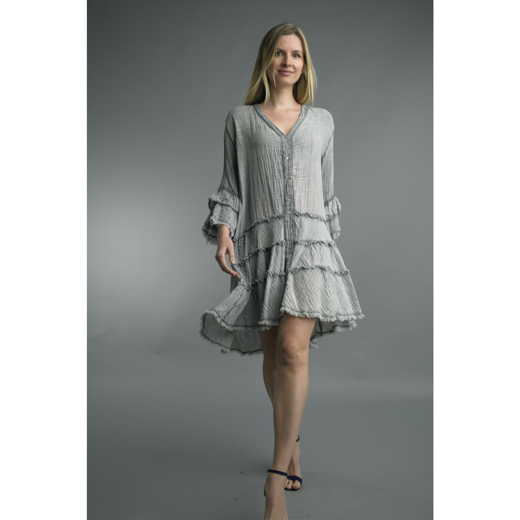 Tempo Paris Gray Button Front Dress w/ Frayed Edge Tiered Bottom