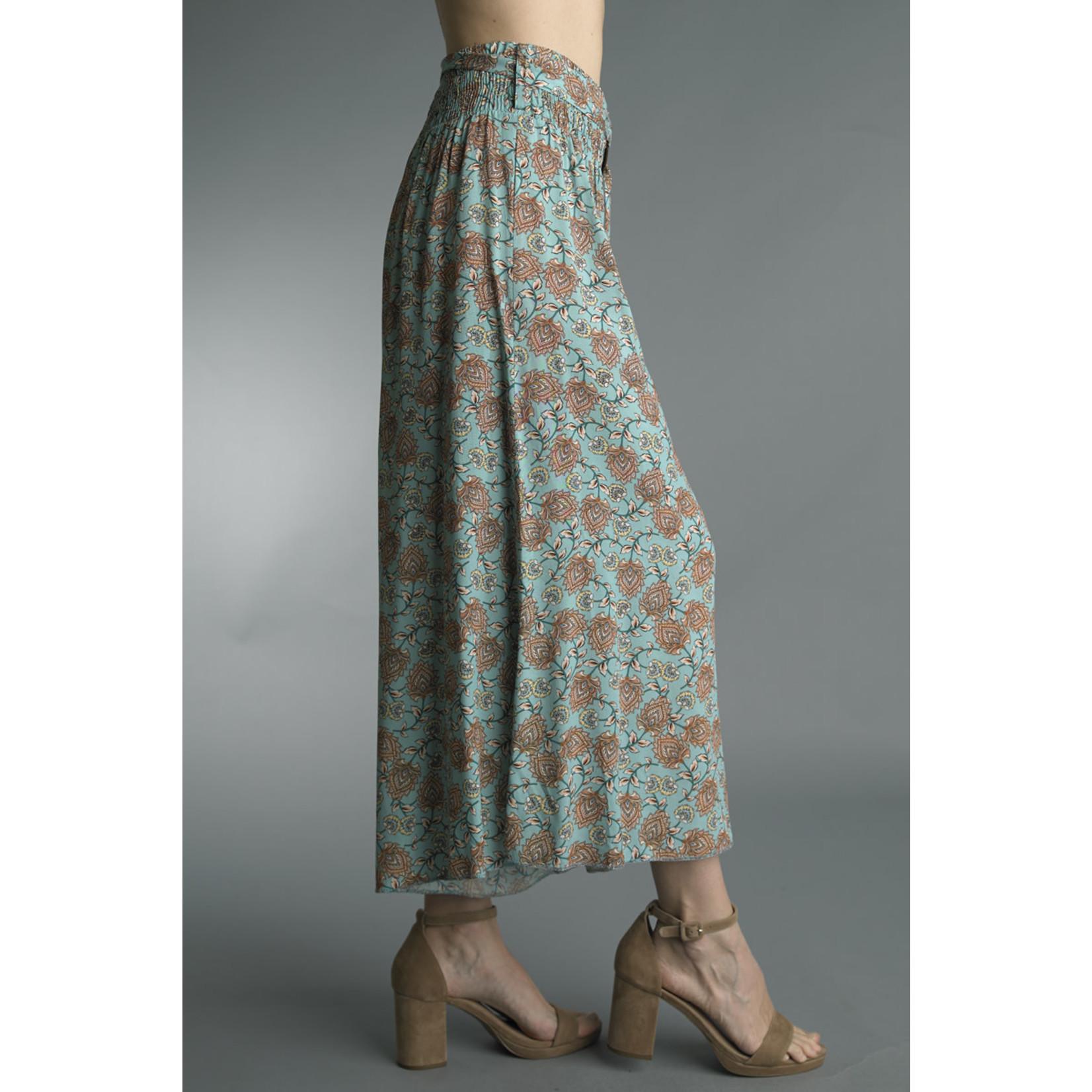 Tempo Paris Sage and Burgundy Floral Print Culottes w/ Elastic Waist