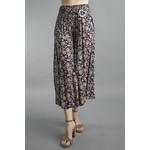 Tempo Paris Blue and Gold Floral Print Culottes w/ Elastic Waist