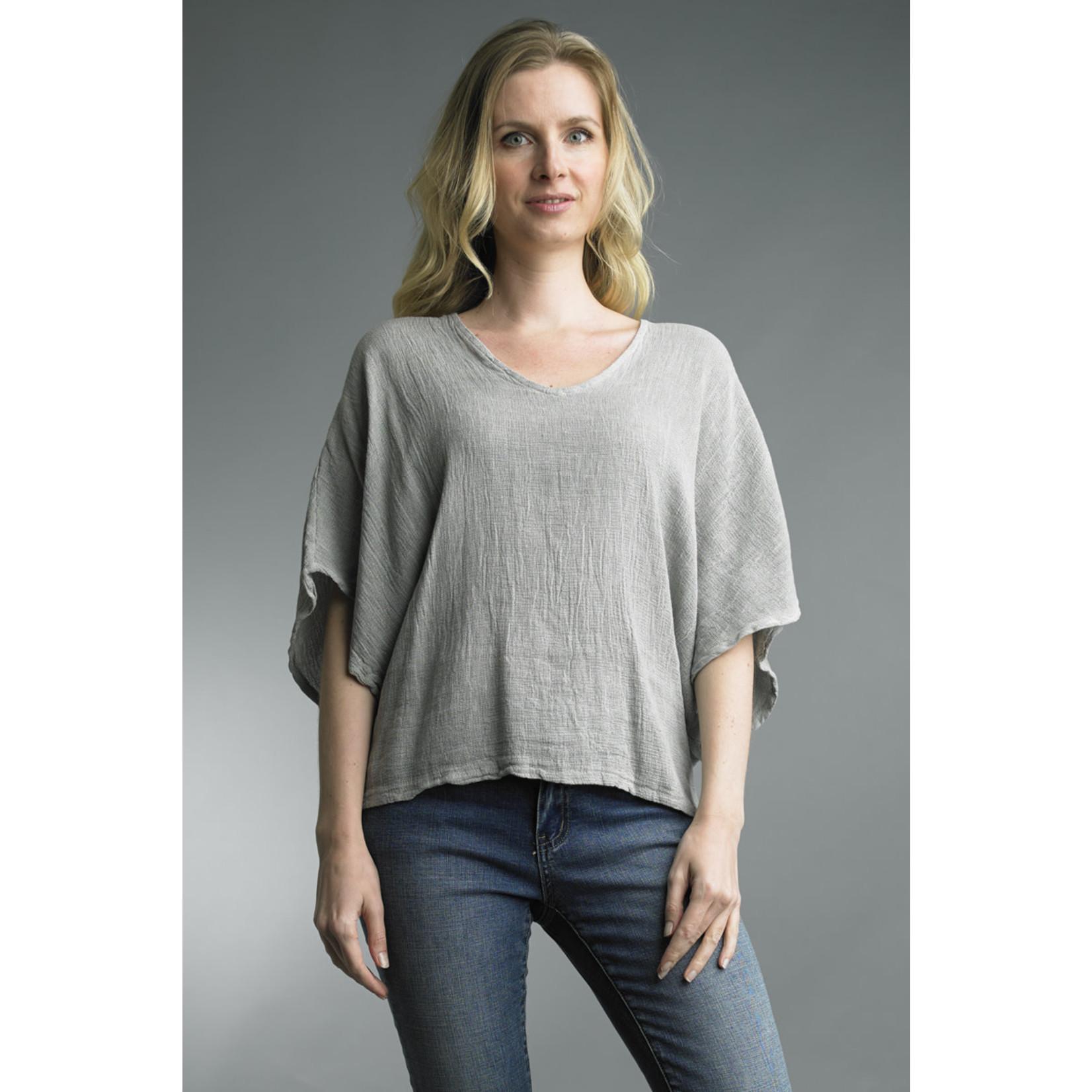 Tempo Paris Gray Linen Oversized V-neck Tee w/ Dolman Sleeves