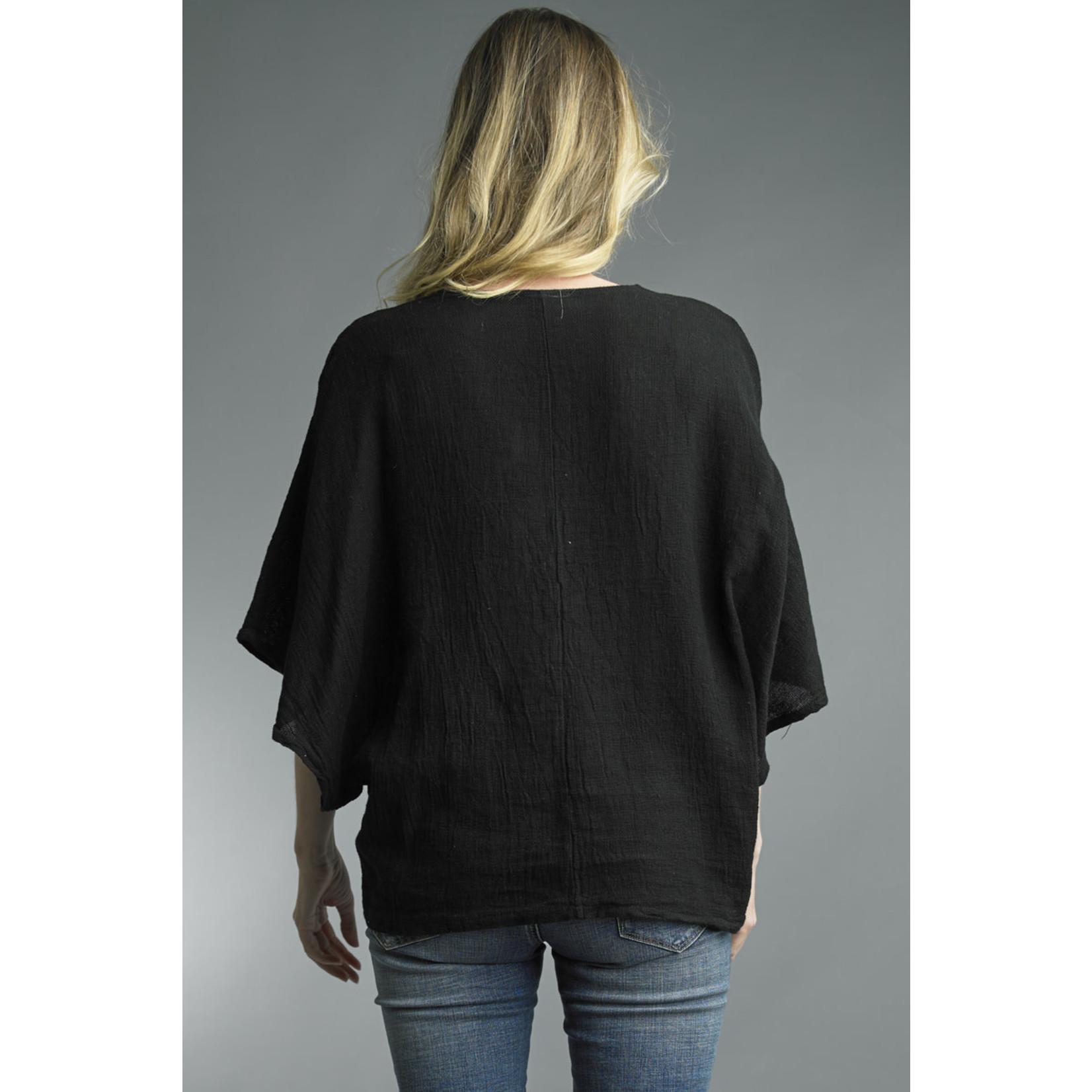 Tempo Paris Black Linen Oversized V-neck Tee w/ Dolman Sleeves