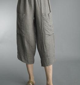 Tempo Paris Taupe Linen Wide Leg Crop Pant