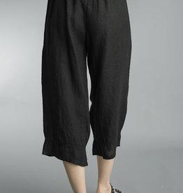 Tempo Paris Black Linen Wide Leg Crop Pant