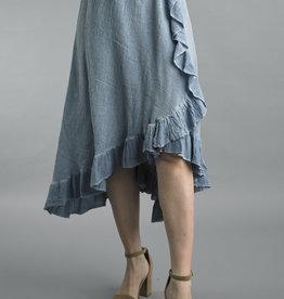 Tempo Paris Denim Ruffled Tier Long Skirt