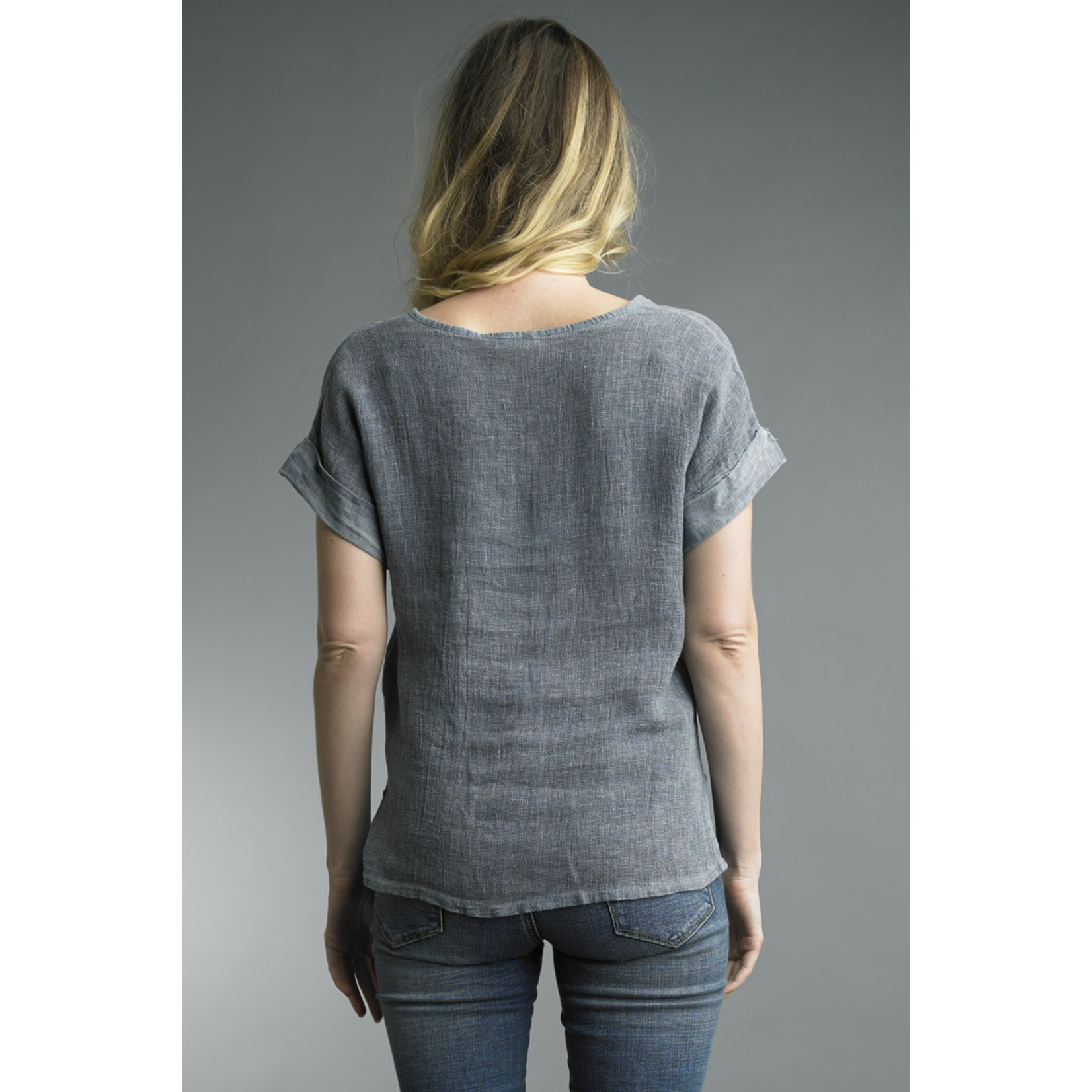 Tempo Paris Linen V-Neck Tee in Denim Color w/ Cuff Sleeves