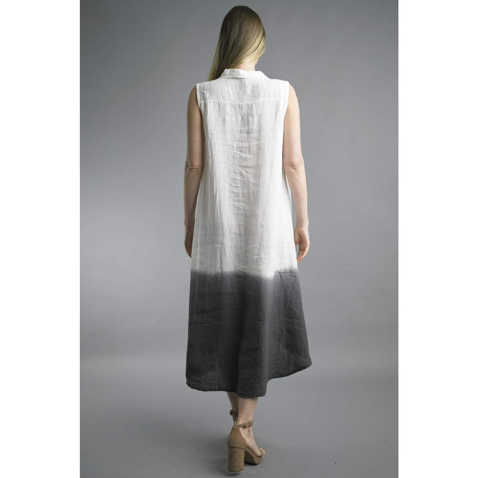 Tempo Paris Cream and Dipped-Dyed Charcoal Linen Button-up Dress