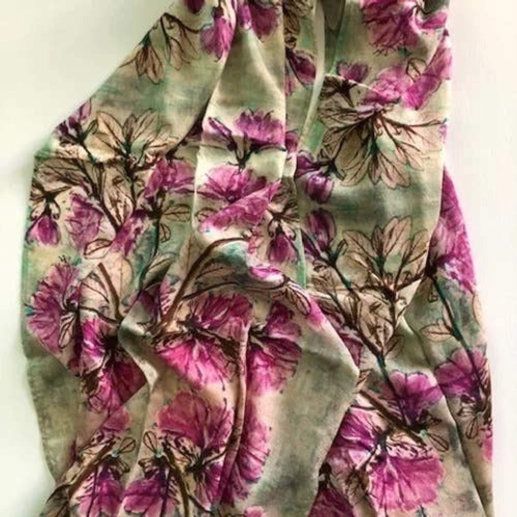 Nina J Purple Azalea Cotton Scarf