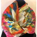 Nina J Lilies and Echinacea Silk Scarf