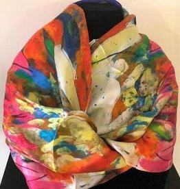 Nina J Lilies and Echinacea Silk Scarf