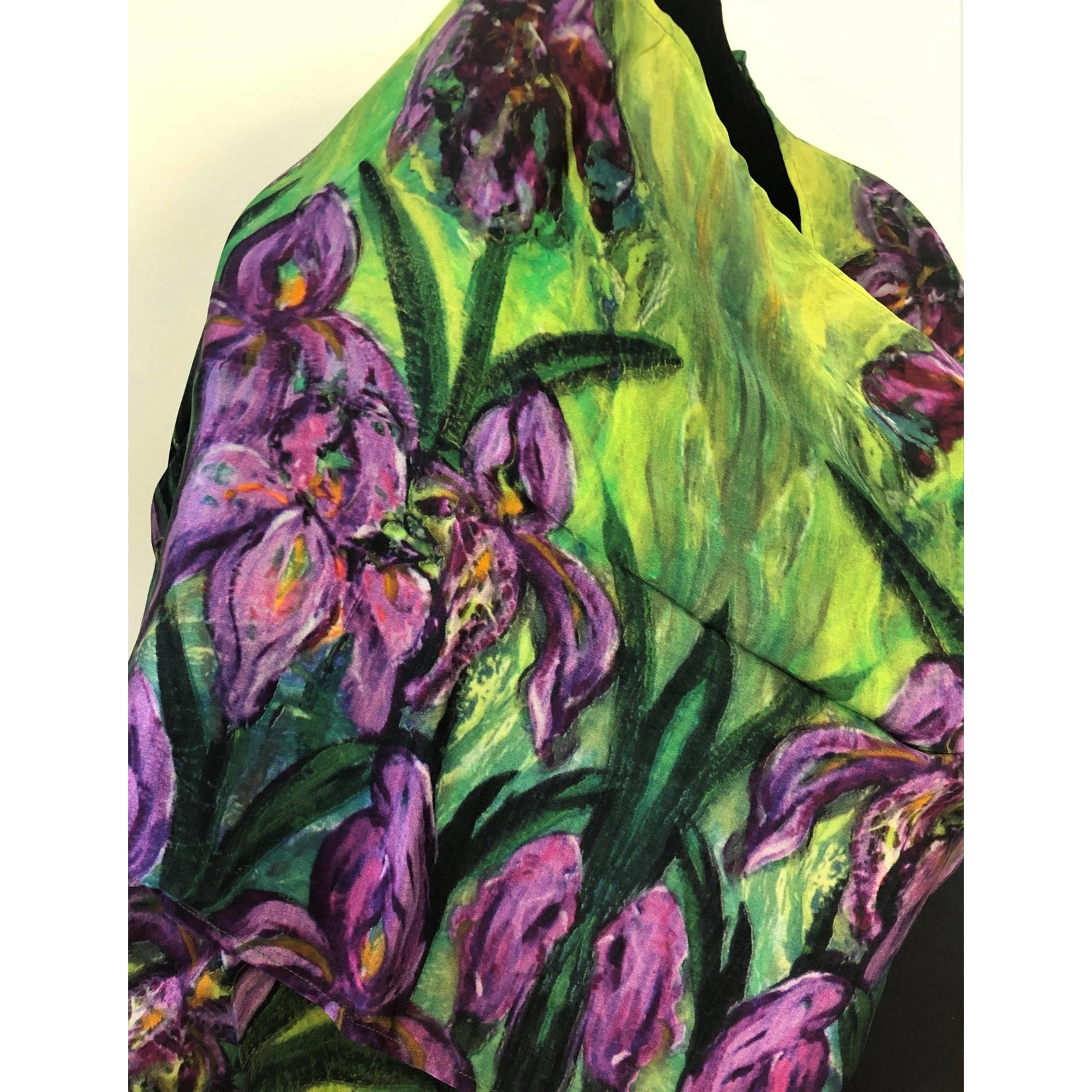 Nina J Iris Garden Silk Scarf