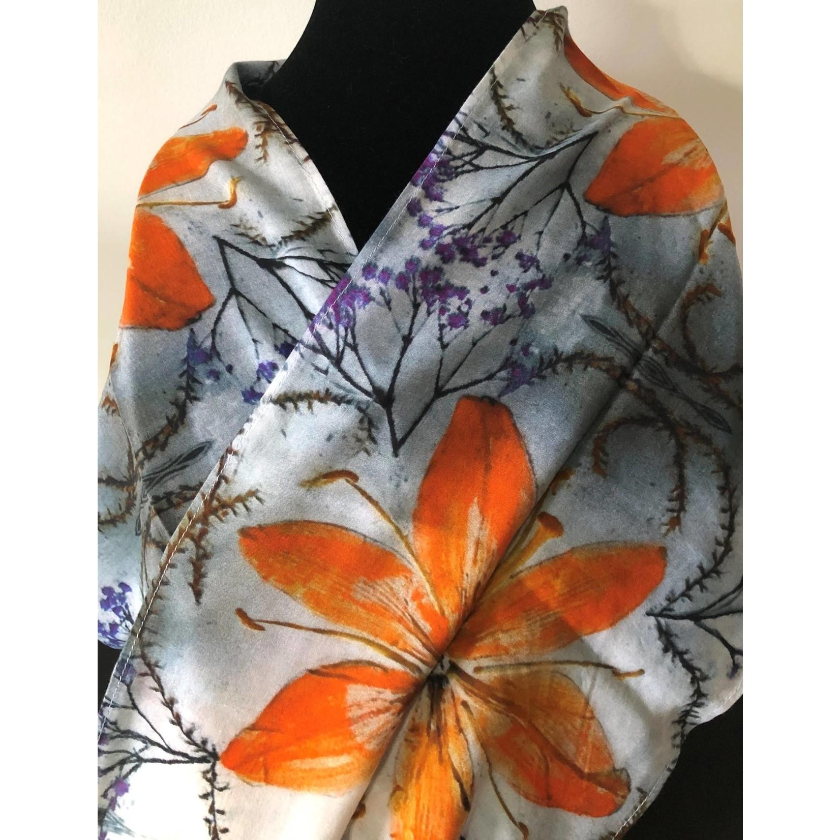Nina J Day Lilies Cotton Scarf