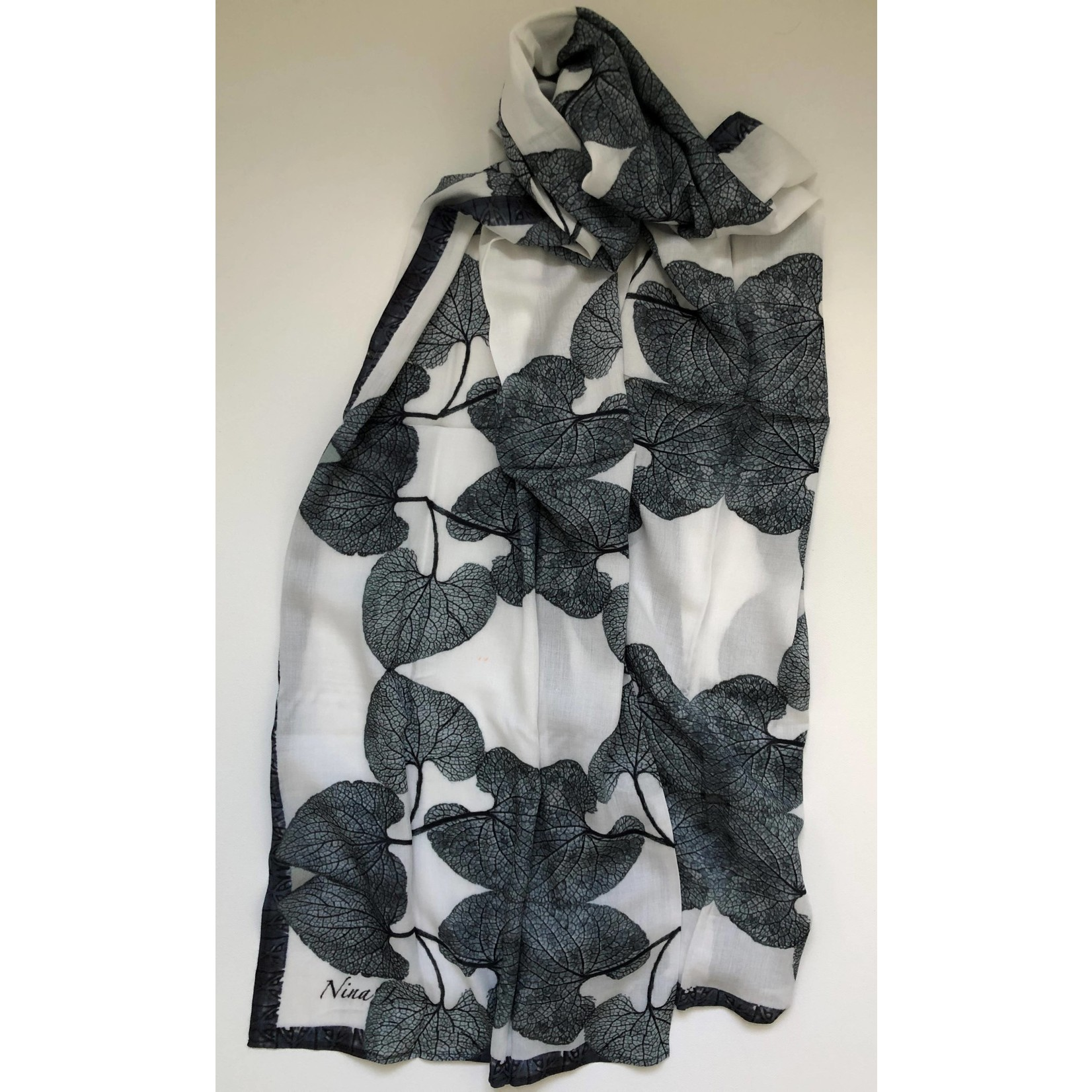 Nina J White Love (Forget Me Not) Cotton Scarf
