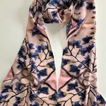 Nina J Budding Orchids Cotton Scarf