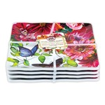Michel Design Works Sweet Floral Melody Melamine Set of 4 Canapé Plates