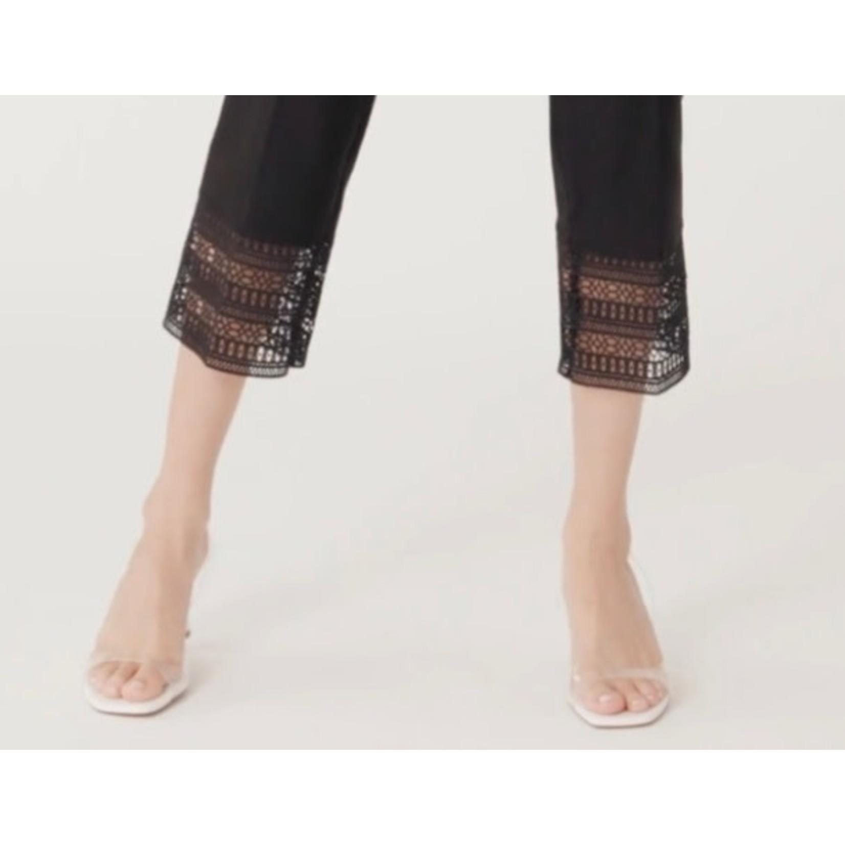 Up! Black Crop Pant w/ Crochet Trim