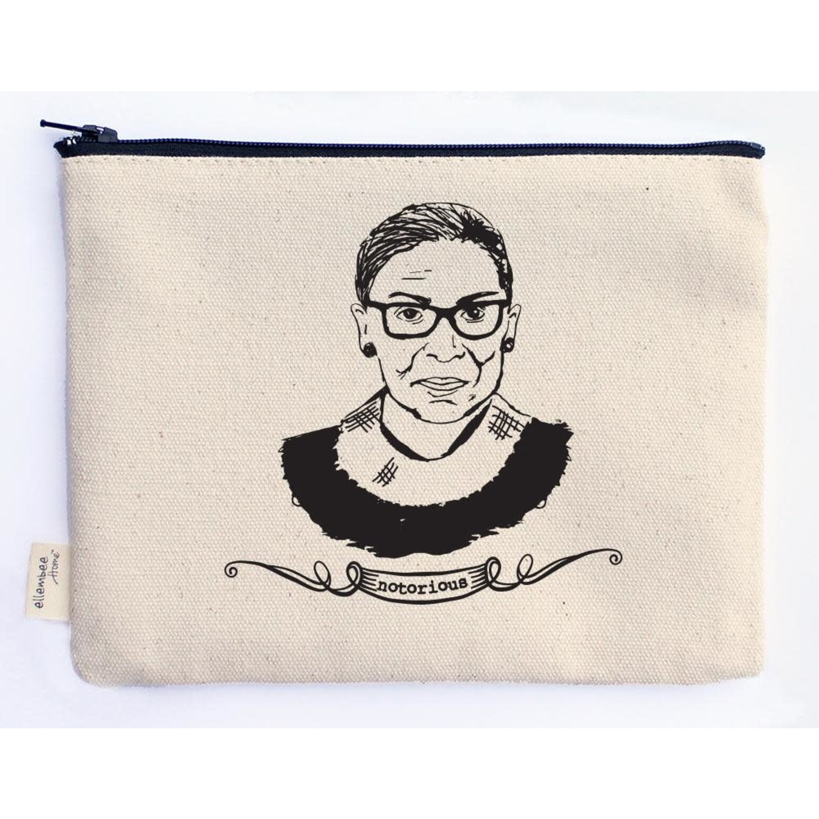 ellembee gift Notorious RBG (Ruth Bader Ginsburg) Canvas Zipper Pouche