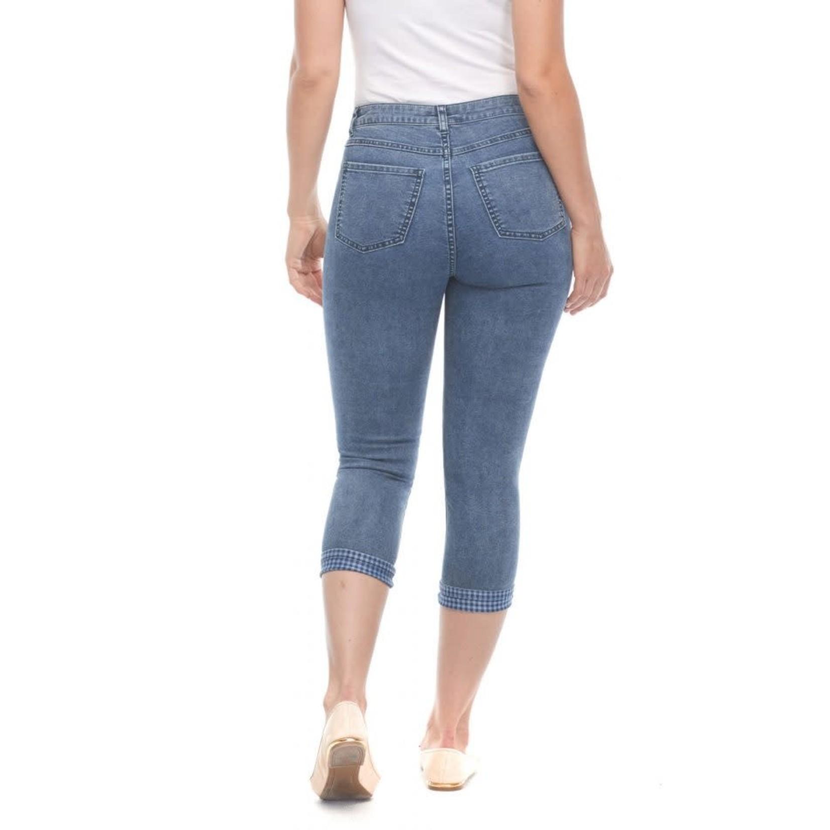 Olivia Slim Crop Reversible Denim/Gingham Jeans