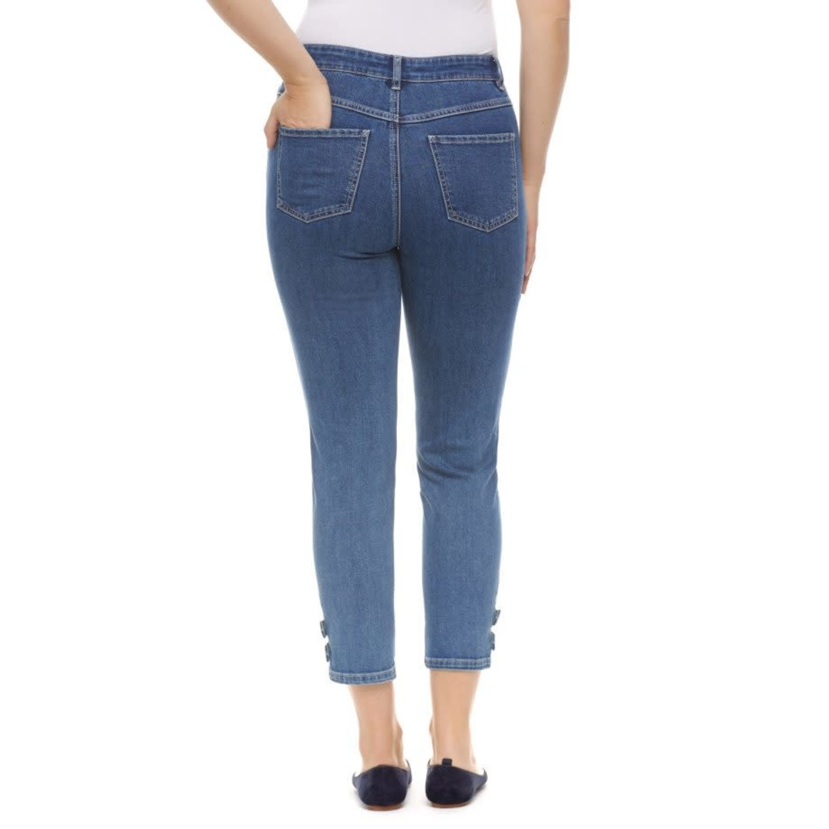 Suzanne Slim Crop Jeans w/ 2 Ankle Tab Snaps