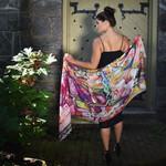 Miranda Abstract Portrait 100% Wool Scarf