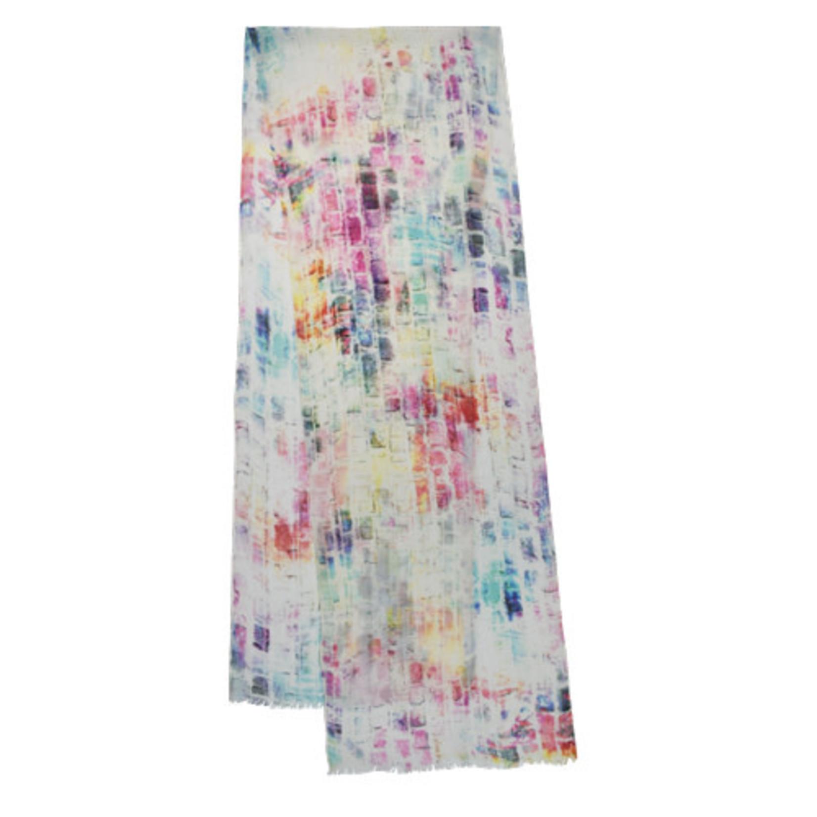 Talia Rainbow White Multi Digital Print Scarf