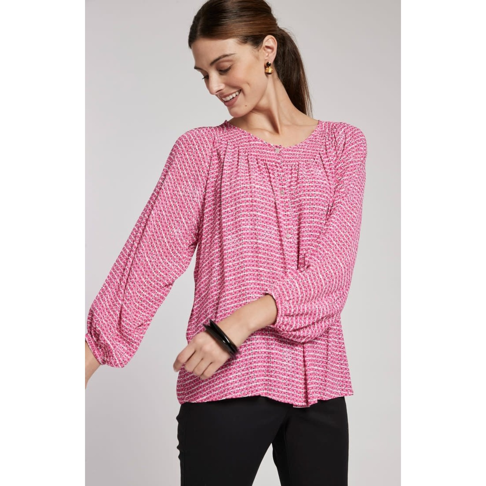 Tyler Boe Riley Ditsy Daisy Pink and White Viscose Top