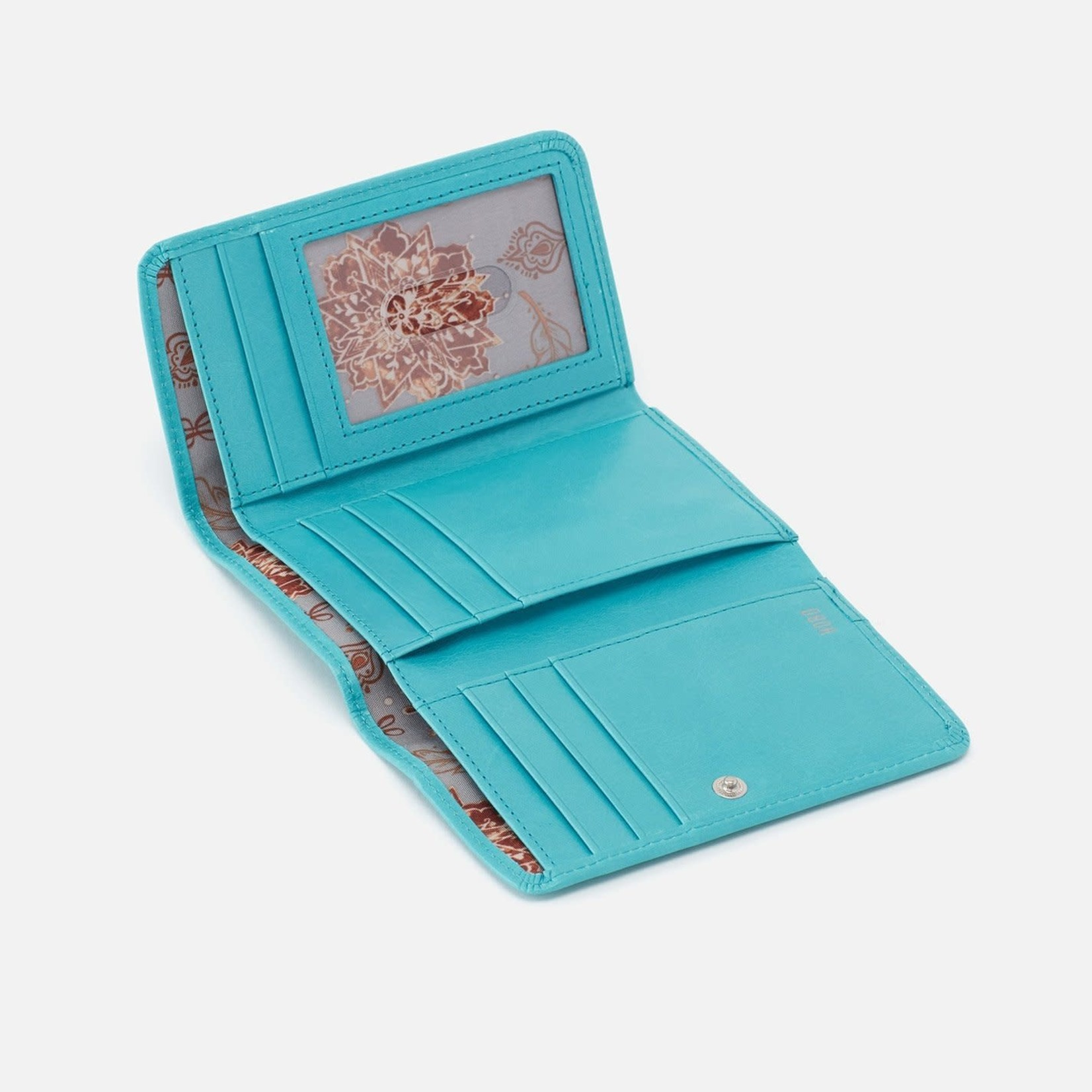 HOBO Jill Small Soft Leather Trifold Wallet - Aqua