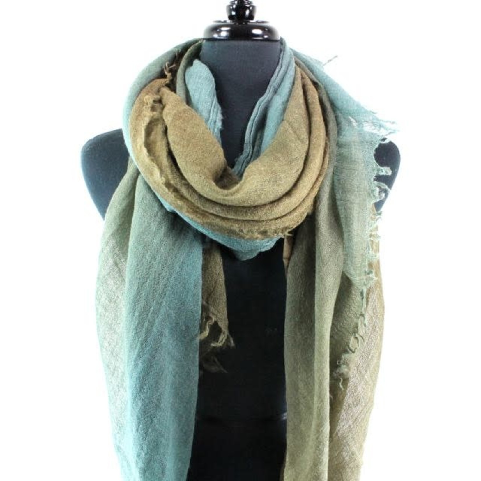 Spanish Cloud- Army Green and Teal Scarf