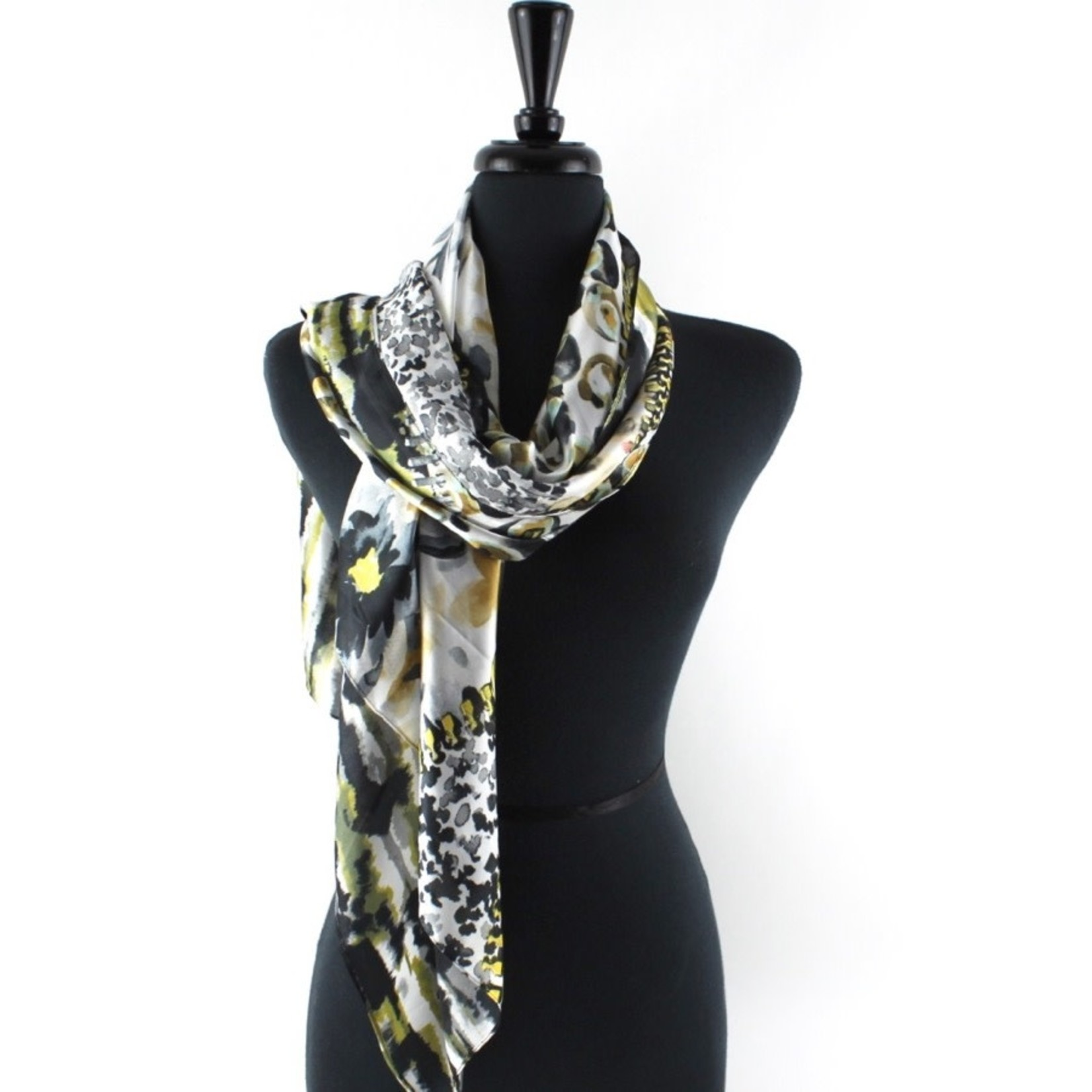 Wild Aster Grey and Yellow Scarf