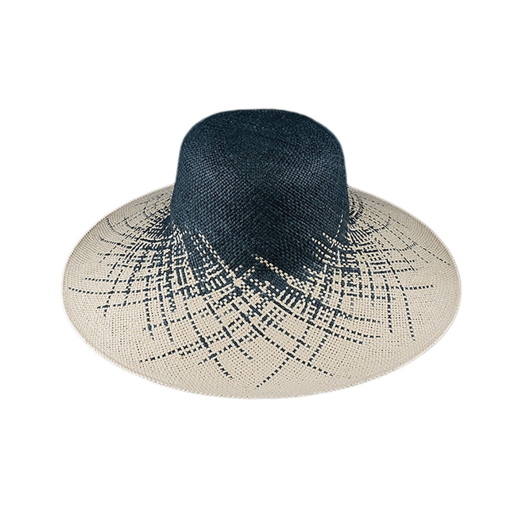 Jeanne Simmons Dark Grey and Creme Woven Paper Wide Brim Hat