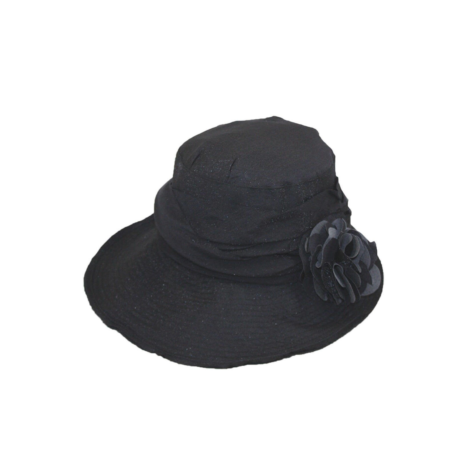 Jeanne Simmons Black Hat w/ Slanted Brim and Pleated Flower
