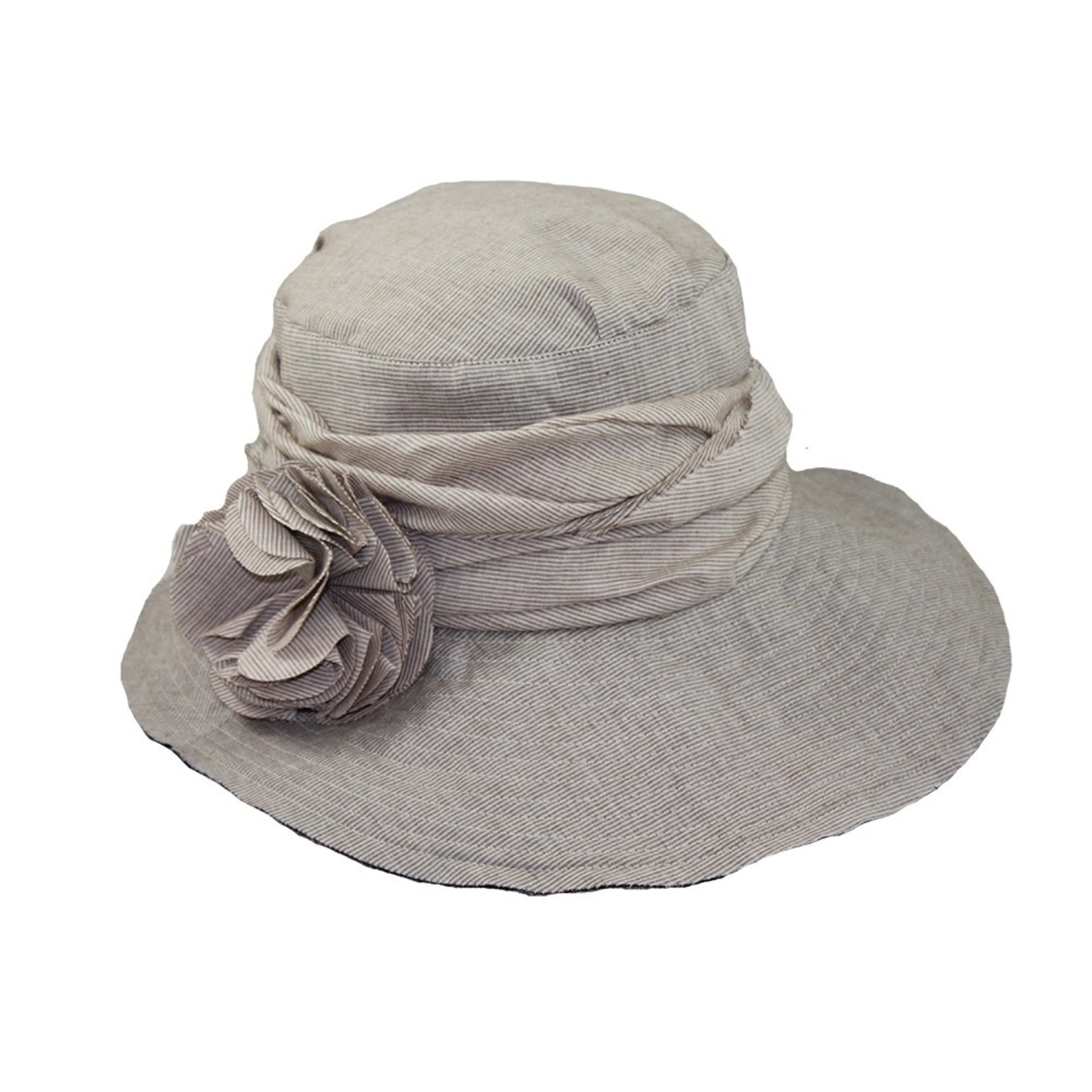 Jeanne Simmons Taupe Hat w/ Slanted Brim and Pleated Flower