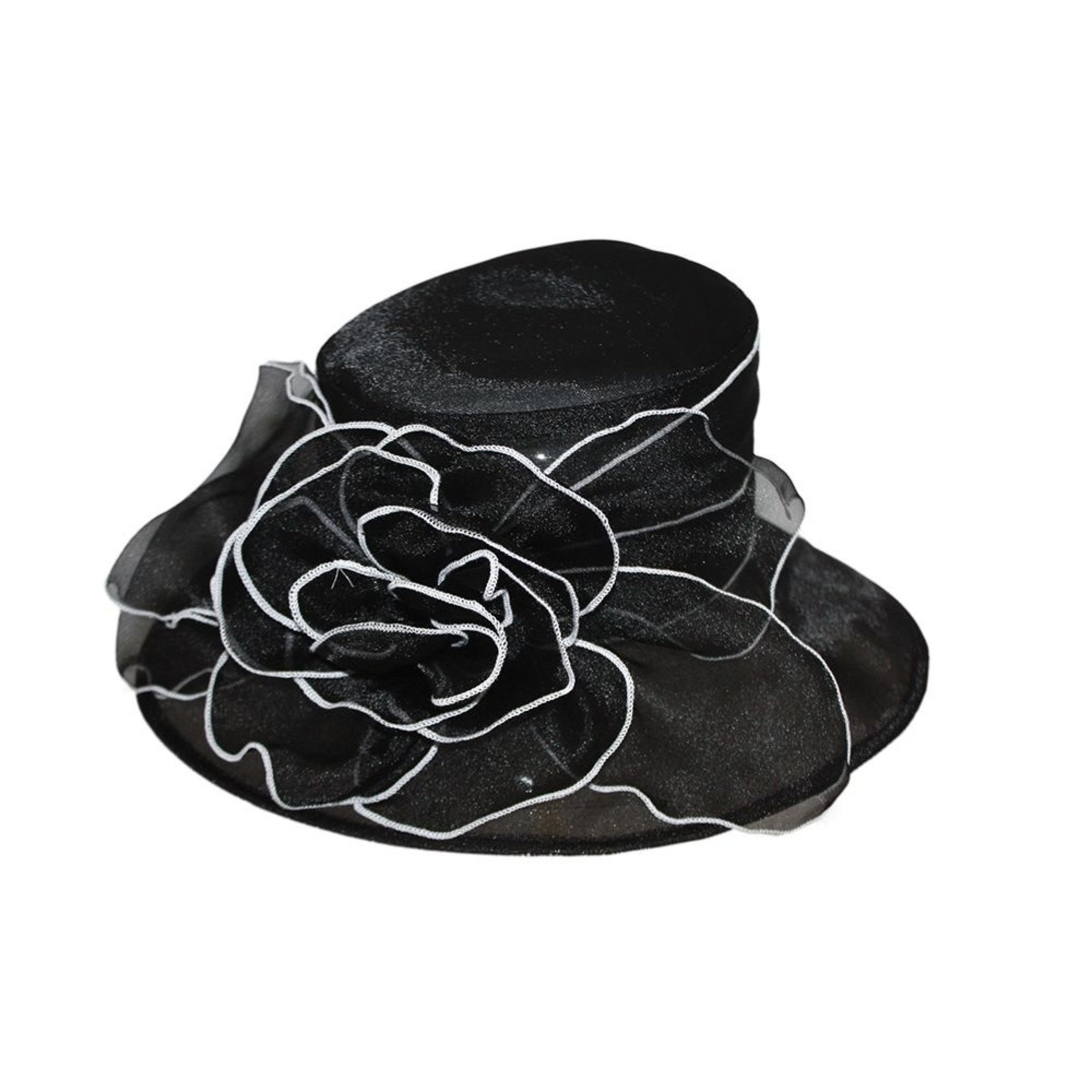Jeanne Simmons Black Hat w/ xlrg Brim and Wire B/W Floral accent