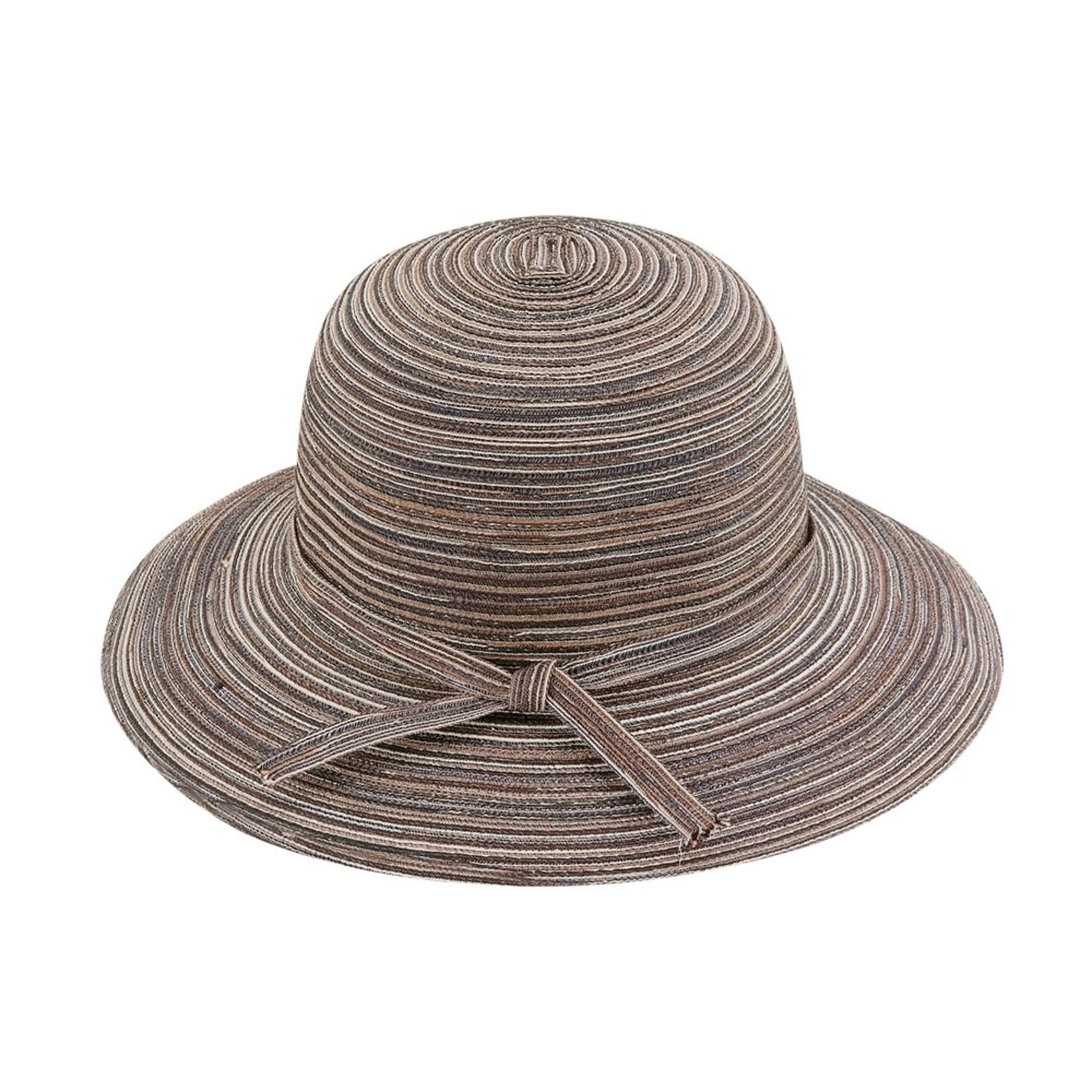 Jeanne Simmons Brown Bucket Brim Hat w/ Self Tie